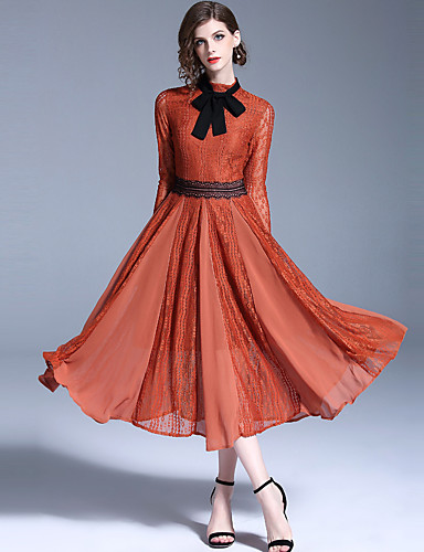 voordelige Maxi-jurken-Dames Vintage Elegant A-lijn Jurk - Effen, Kant Strik Veters Maxi