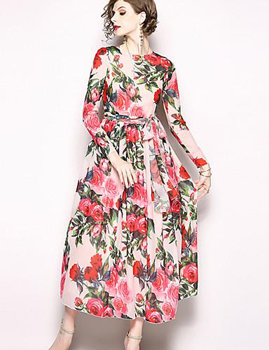 voordelige Maxi-jurken-Dames Standaard Chinoiserie Schede Chiffon Wijd uitlopend Jurk - Bloemen, Patchwork Print Maxi roze