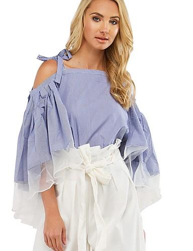 billige Dametopper-Skjorte Dame - Fargeblokk Blå
