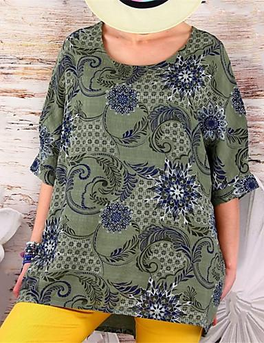 billige Topper til damer-T-skjorte Dame - Blomstret, Lapper Grunnleggende Blå Militærgrønn