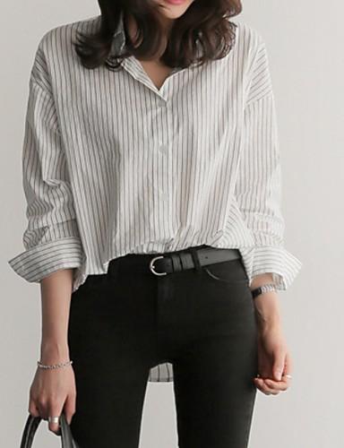 billige Topper til damer-Skjorte Dame - Stripet Hvit