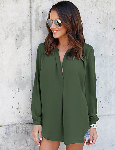 billige Overdele til damer-Dame - Ensfarvet Skjorte Sort
