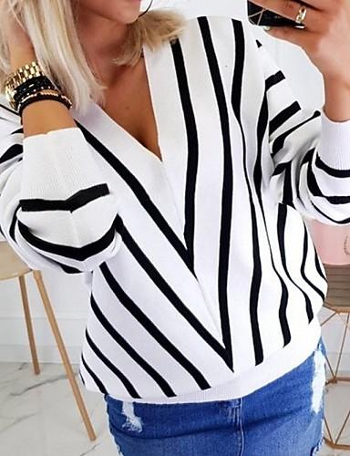 billige Dametopper-Dame Stripet Langermet Pullover, V-hals Svart / Hvit / Beige S / M / L