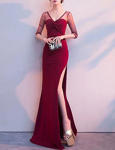 voordelige Maxi-jurken-Dames Elegant Trompet / zeemeermin Jurk - Effen, Met ruches Split Patchwork Maxi