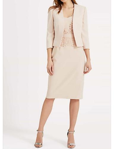 voordelige Wrap Dresses-Strak / kolom V-hals Tot de knie Polyester Bruidsmoederjurken met Kant door LAN TING Express / Wrap inbegrepen