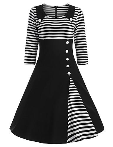 billige Kjoler-Dame Sofistikert Elegant A-linje Kjole - Stripet, Lapper Knelang