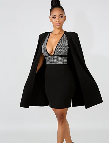 hesapli Mini Elbiseler-Kadın's İki Parça Elbise - Kareli Diz üstü