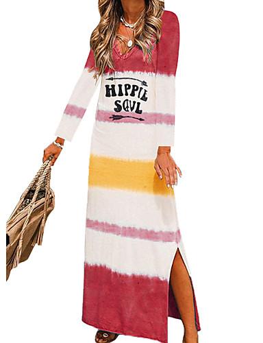 abordables Robes Femme-Femme Rétro Vintage Maxi Courte Robe - Mosaïque, Bloc de Couleur Bleu Rouge Marron S M L Manches Longues