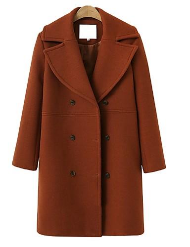 ieftine Geci de Damă-Pentru femei Zilnic Toamna iarna Regular Palton, Mată Rever Clasic Manșon Lung Poliester Negru / Roșu-aprins / Maro