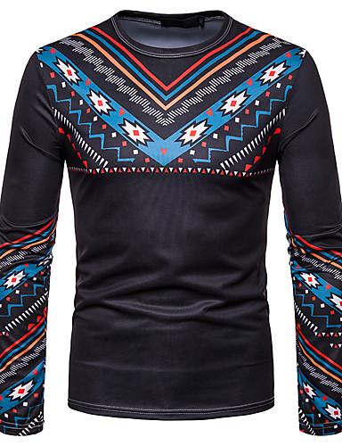 voordelige Heren T-shirts & tanktops-Heren Standaard / Elegant T-shirt Effen / Geometrisch / Tribal Zwart