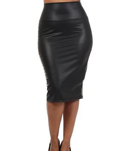 abordables Jupes-Femme Basique Moulante Jupes - Couleur Pleine Noir Rouge M L XL