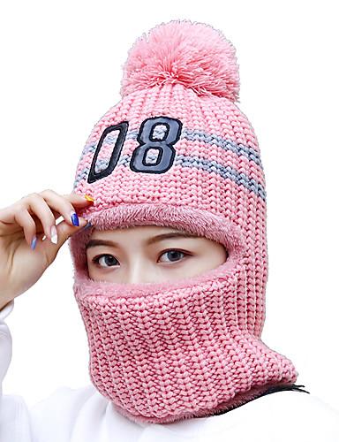 abordables Chapeaux Femme-Femme Acrylique Actif Basique Le style mignon Ski Bloc de Couleur A Fleur Blanche Rose Claire Beige Hiver