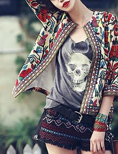 ราคาถูก ชุดคลุมสตรี-สำหรับผู้หญิง เสื้อคลุมสุภาพ คอปีเตอร์แพน เส้นใยสังเคราะห์ สีดำ / ผ้าขนสัตว์สีธรรมชาติ