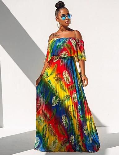 abordables Robes Femme-Femme Bohème Maxi Balançoire Robe - Plissé Imprimé, Fleur Jaune S M L Manches Courtes
