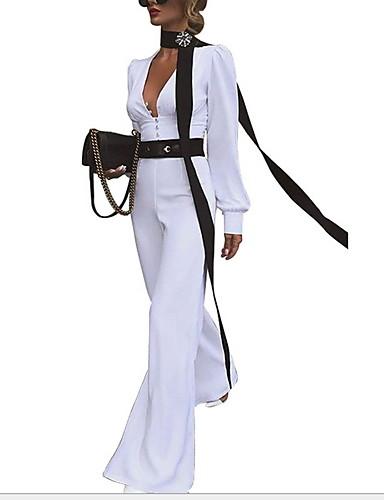 povoljno Ženski jednodijelni kostimi-Žene Obala Bijela Red Jumpsuits, Jednobojni S M L