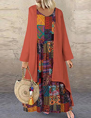 voordelige Maxi-jurken-Dames Boho Recht Jurk - Geometrisch, Patchwork Maxi