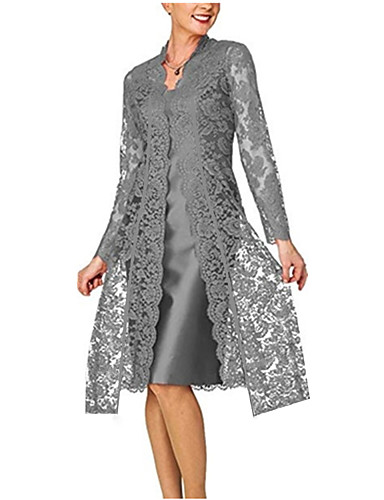 povoljno Moderne haljine-Žene Za majku Čipka Dvodijelni kroj Haljina - Čipka, Jednobojni V izrez Do koljena