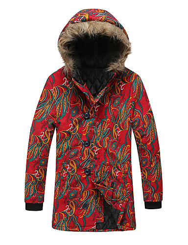 voordelige Heren donsjassen & parka's-Heren Kleurenblok Kort Gewatteerd, POLY / Mix van Polyester & Katoen Rood US34 / UK34 / EU42 / US36 / UK36 / EU44 / US40 / UK40 / EU48
