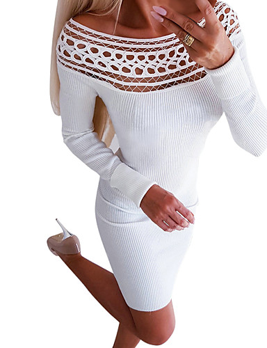 billige Kjoler-Dame Grunnleggende Bohem Kroppstett Kjole Skjede Kjole - Ensfarget, Lapper Ovenfor knéet
