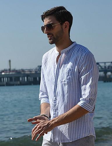 voordelige Herenoverhemden-Heren Overhemd Gestreept Wit