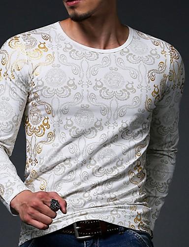 voordelige Heren T-shirts & tanktops-Heren T-shirt Bloemen Zwart