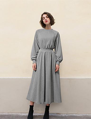 お買い得  レディースドレス-女性用 シフト ドレス ソリッド マキシ