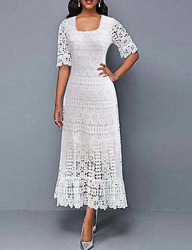 رخيصةأون فساتين للنساء-فستان نسائي ثوب ضيق طباعة - دانتيل طويل للأرض ورد رقبة مربعة