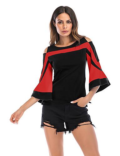 billige Dametopper-T-skjorte Dame - Fargeblokk, Lapper Grunnleggende / Elegant Svart