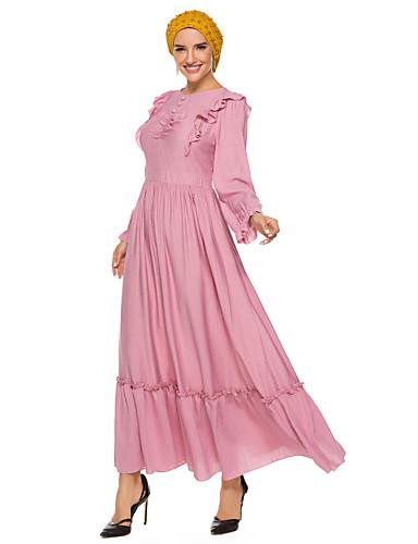 voordelige Maxi-jurken-Dames Street chic Elegant Schede Kaftan Jurk - Effen, Patchwork Maxi
