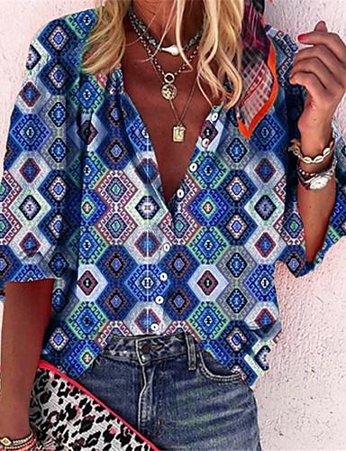 billige Dametopper-Skjorte Dame - Geometrisk / Grafisk, Lapper / Trykt mønster Grunnleggende / Bohem Lilla