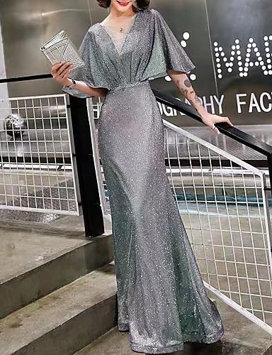 voordelige Maxi-jurken-Dames Elegant Trompet / zeemeermin Jurk - Effen, Blote rug Patchwork Maxi