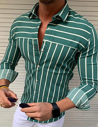 voordelige Herenoverhemden-Heren Kwastje Overhemd Gestreept Geel / Lange mouw