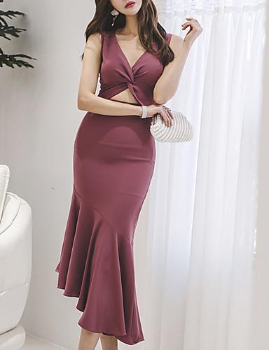 billige Sexy Kjoler-Dame A-linje Kjole - Ensfarget Asymmetrisk