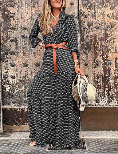 abordables Robes à points Polka-Femme Chic de Rue Maxi Balançoire Robe Bloc de Couleur Noir Bleu Rouge S M L Manches Longues