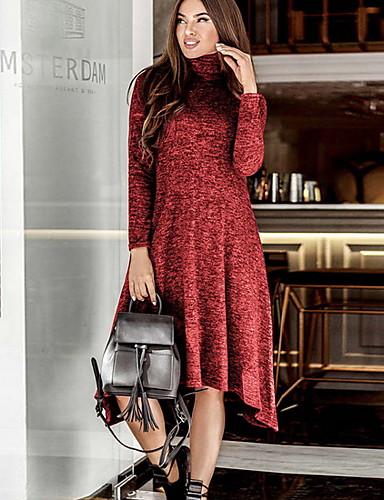 abordables Robes Femme-Femme Mi-long Balançoire Robe Couleur Pleine Bleu Rouge Vert S M L Manches Longues