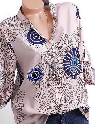 billige Topper til damer-Skjorte Dame - Geometrisk, Trykt mønster Blå
