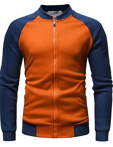 voordelige Herenjacks & jassen-Heren Dagelijks Herfst winter Normaal Jack, Kleurenblok Opstaand Lange mouw Polyester Zwart / Wit / Oranje