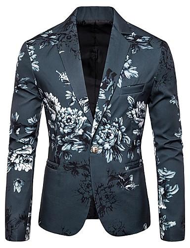 voordelige Herenblazers & kostuums-Heren Blazer, Bloemen Opstaand Polyester Zwart / Wit / Leger Groen