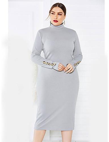 abordables Robes Femme-Femme Basique Elégant Midi Tricot Robe Couleur Pleine Vin Bleu Marine Gris XL XXL XXXL Manches Longues