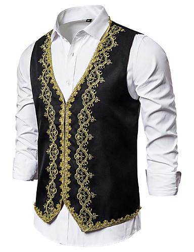 voordelige Herenblazers & kostuums-Heren Vest, Kleurenblok V-hals Polyester Zwart / Wit / Rood