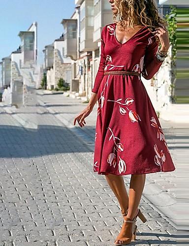 abordables Robes Femme-Femme Asymétrique Trapèze Robe Fleur Noir Vin Violet S M L Manches Longues
