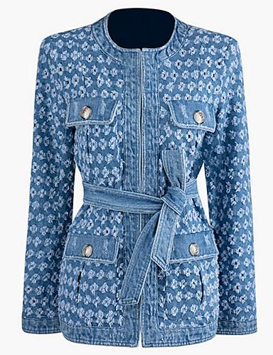 voordelige Damesblazers & jasjes-Dames Dagelijks Winter Normaal Jack, Effen Ronde hals Lange mouw Polyester blauw