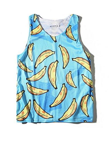 voordelige Heren T-shirts & tanktops-Heren Singlet Fruit Licht Blauw