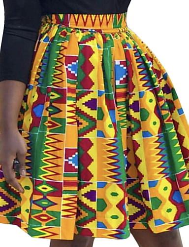 זול חצאיות לנשים-גיאומטרי - חצאיות גזרת A בסיסי בגדי ריקוד נשים צהוב S M L