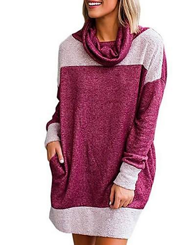 abordables Robes Femme-Femme Au dessus du genou Tee Shirt Robe Bloc de Couleur Bleu clair Violet Jaune S M L Manches Longues