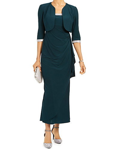 voordelige Wrap Dresses-Strak / kolom / Tweedelig hihnat Tot de enkel Polyester Bruidsmoederjurken met Split voorzijde / Ruches door LAN TING Express / Wrap inbegrepen