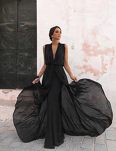 abordables Robes Femme-Femme Basique Midi Trapèze Robe Couleur Pleine Noir S M L Sans Manches