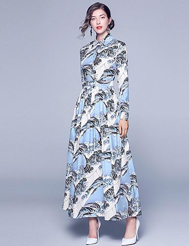 voordelige Maxi-jurken-Dames Verfijnd A-lijn Jurk - Abstract, Print Maxi Blauw