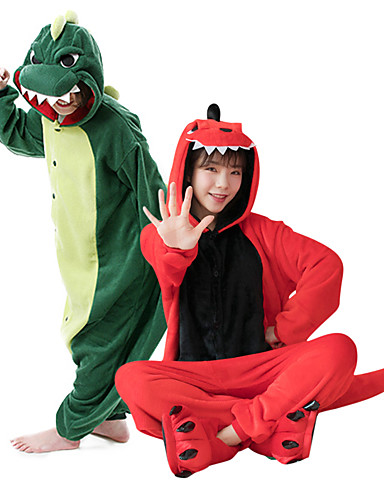 billige Kigurumi-Barne Voksne Kigurumi-pysjamas Dinosaur Monstere Onesie-pysjamas Polar Fleece Mørkegrønn / Rød Cosplay Til Damer og Herrer Pysjamas med dyremotiv Tegnefilm Festival / høytid kostymer