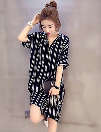 billige Dametopper-Skjorte Dame - Stripet, Lapper Grunnleggende Svart og hvit Svart
